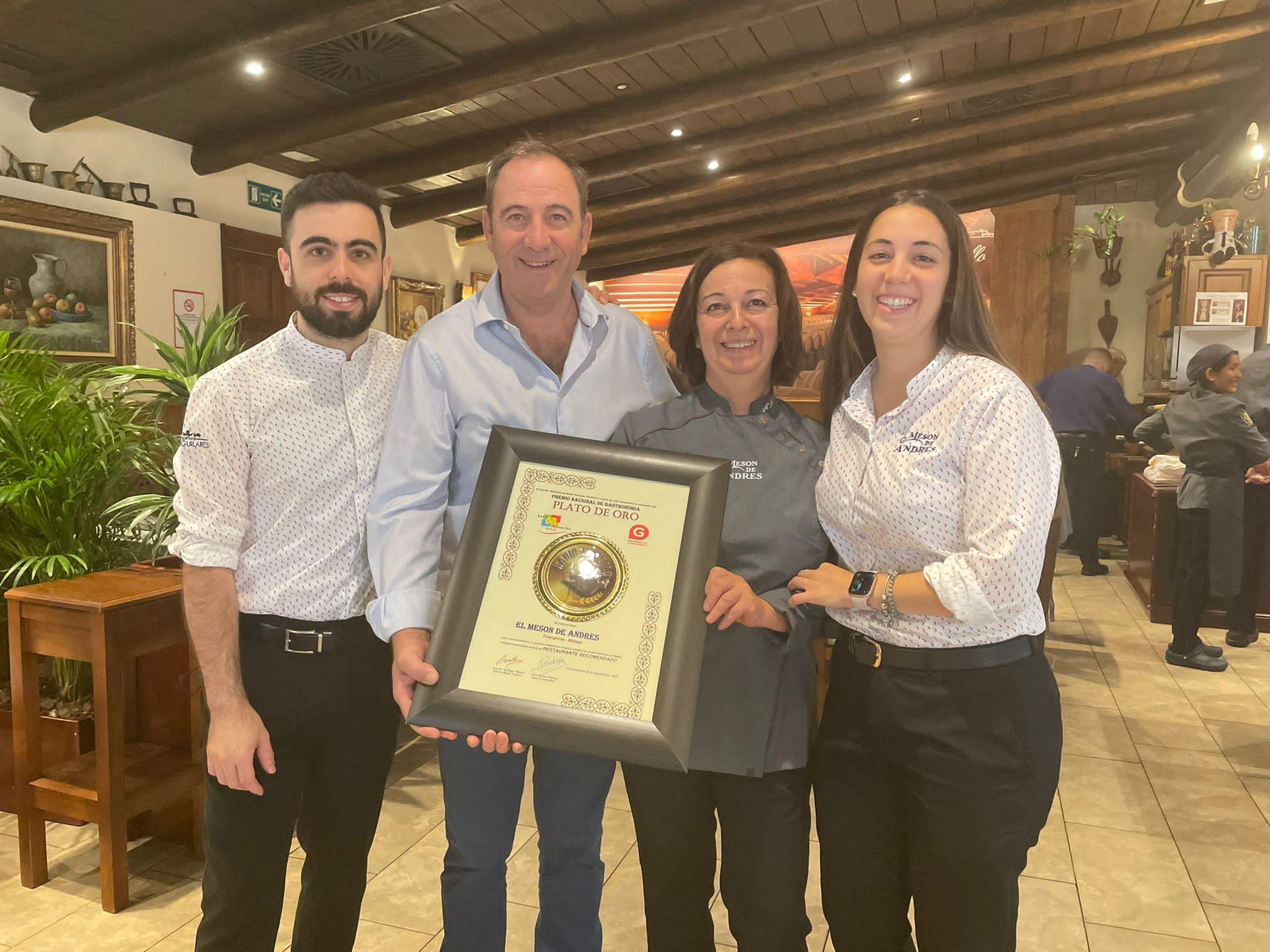 Hemos recibido el Premio Nacional de Gastronomía PLATO DE ORO